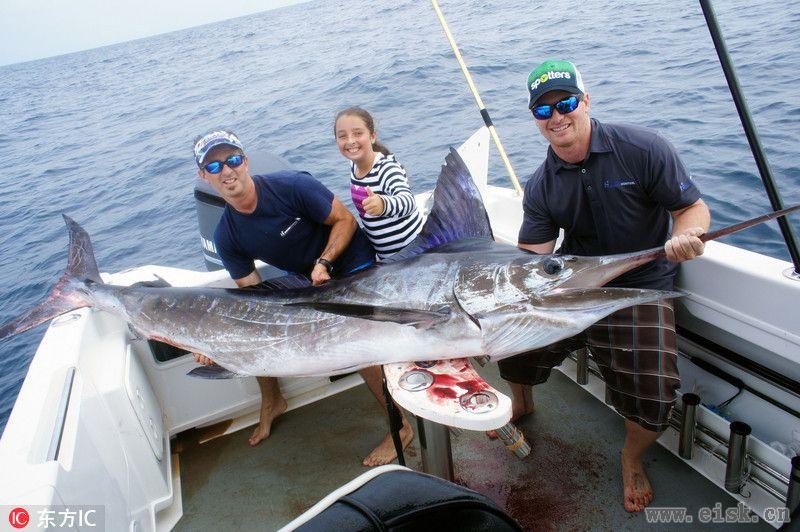 澳11岁女孩捕获294斤青枪鱼破世界纪录